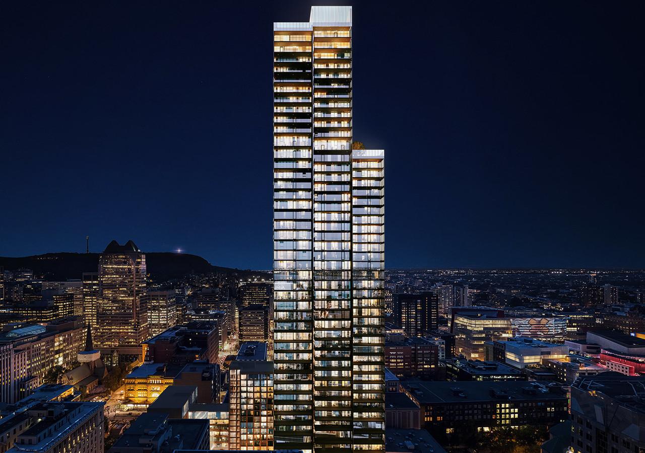 Vue sur la tour en pleine nuit de Day view of the tour of 1 Square Philips