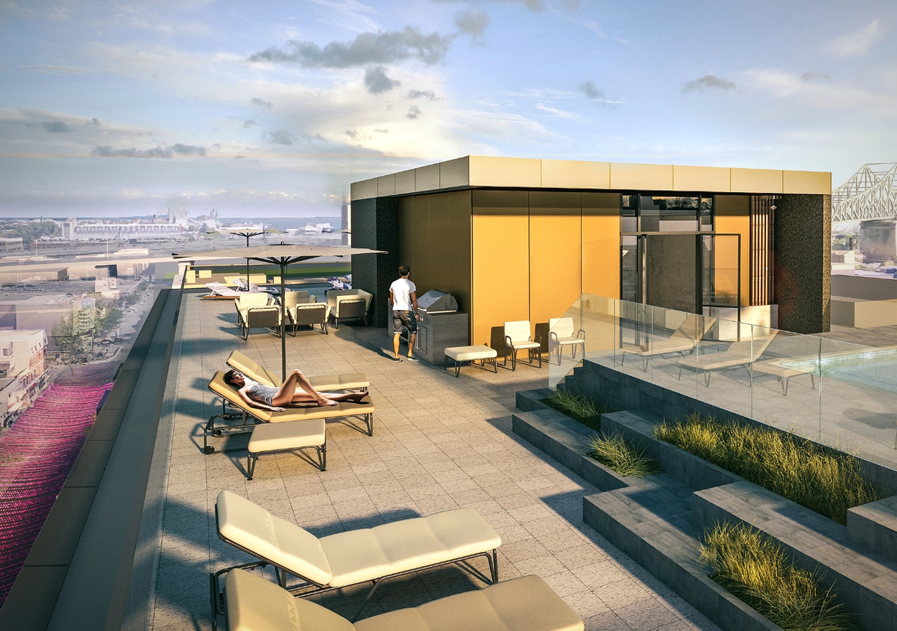 the rooftop terrace with lounge area and bbq