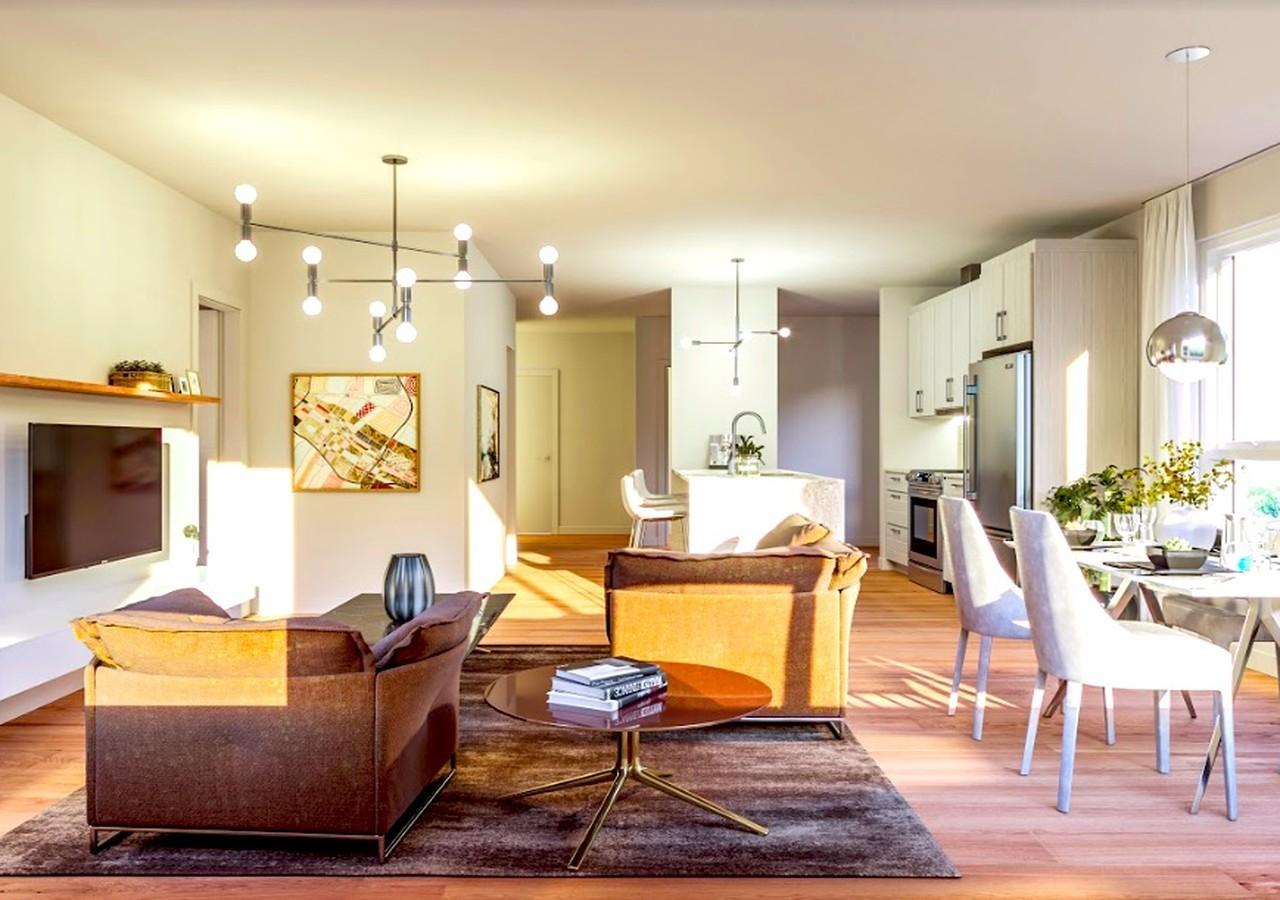 Salon et salle à manger avec les rayons du soleil