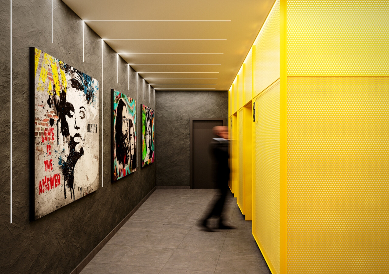 corridors with artistic works