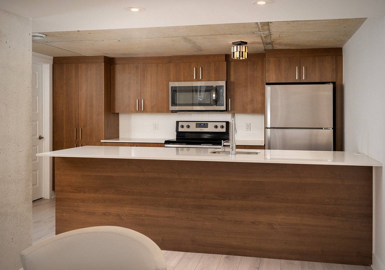 glo 2 wood finish kitchen front view