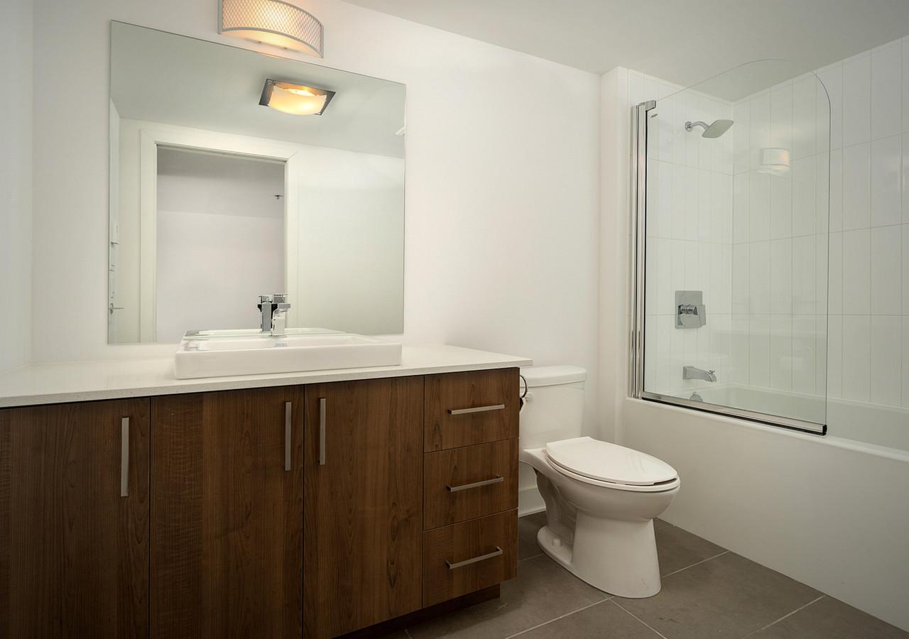 glo 2 wood finish bathroom