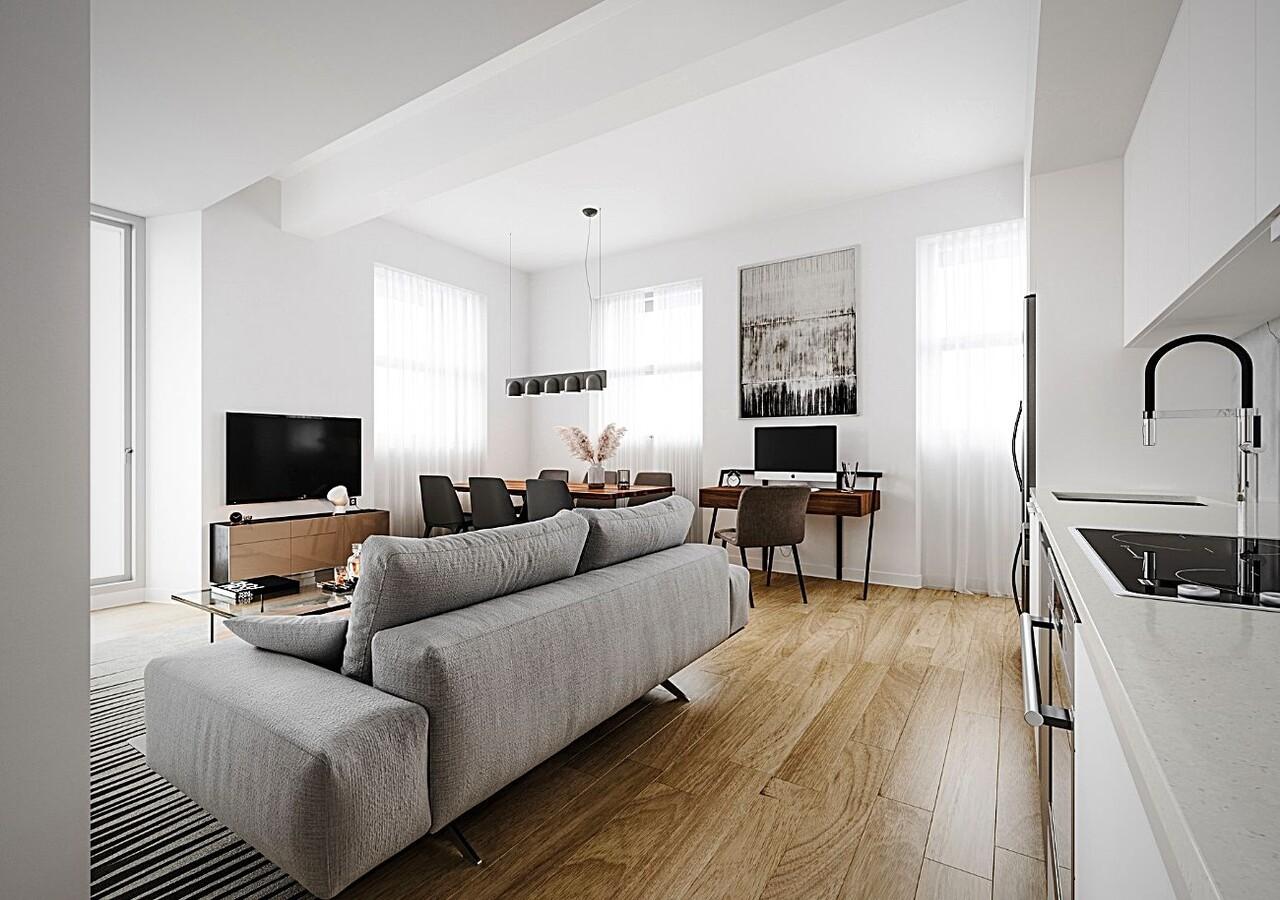 Salon et cuisine avec finitions modernes