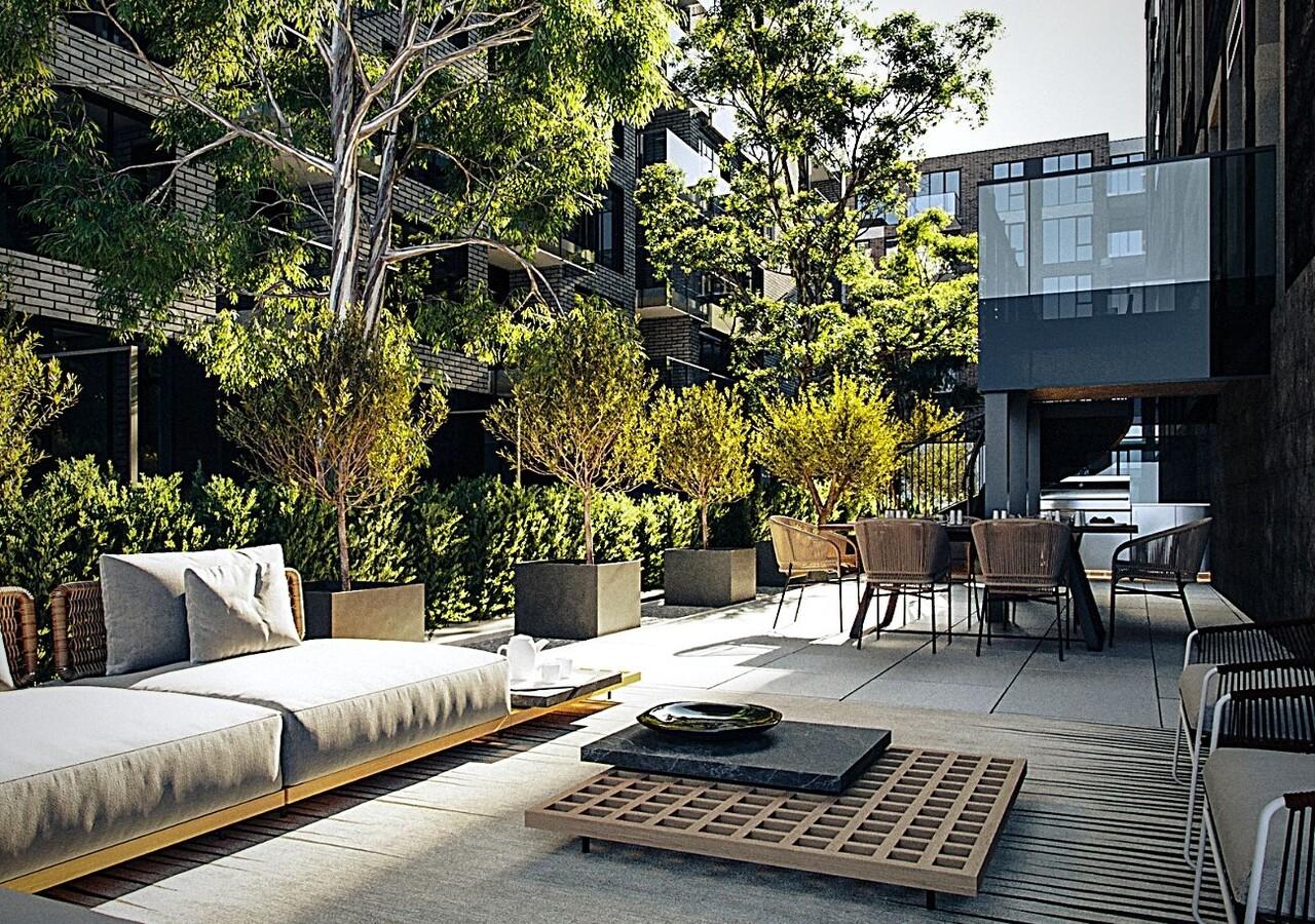 Terrasse avec aménagement paysagers