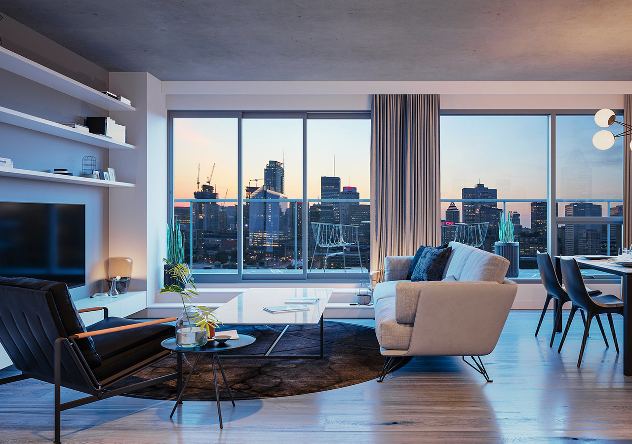 Living room with breathtaking views on the city of Montreal