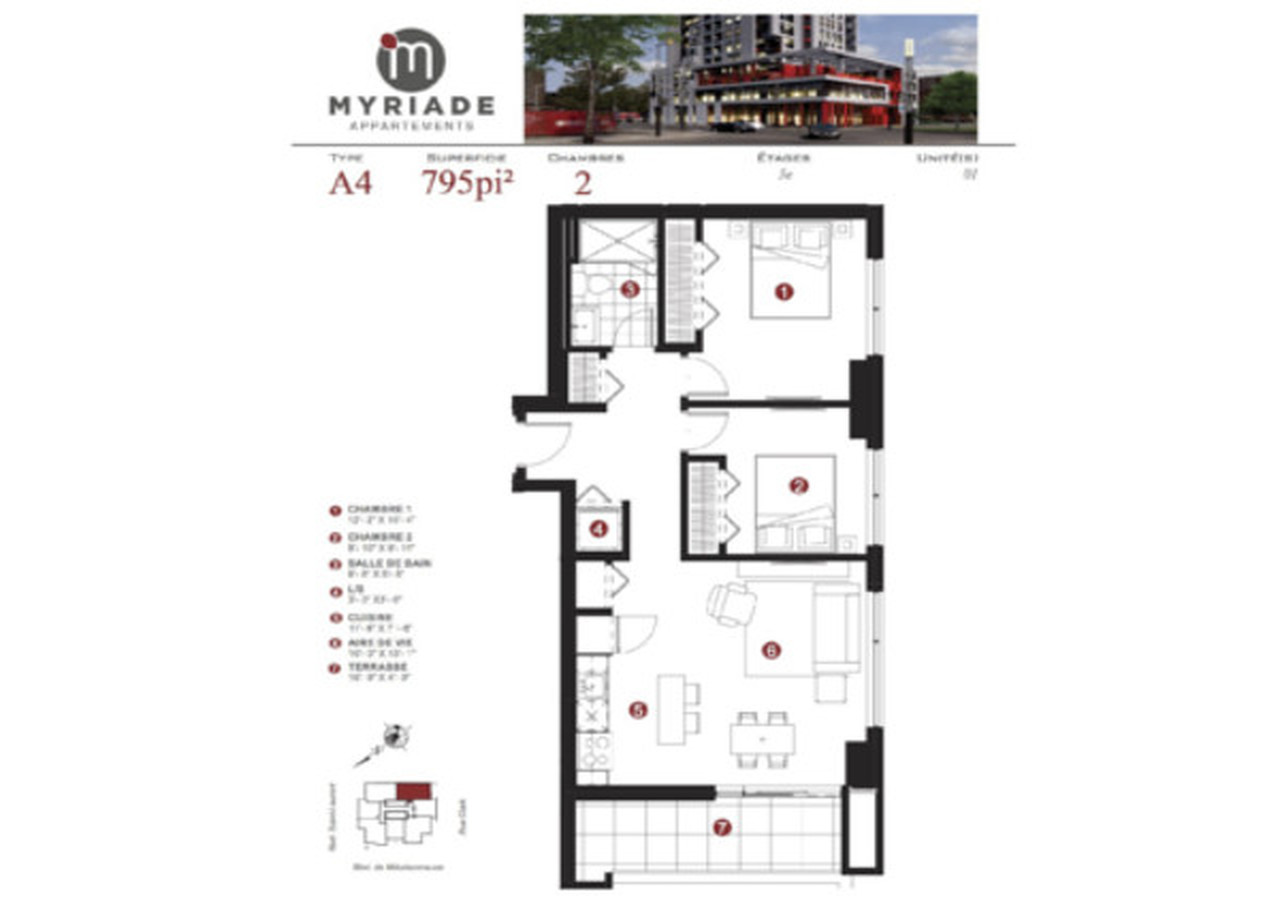 myriade plan of an A4 unit at Myriade