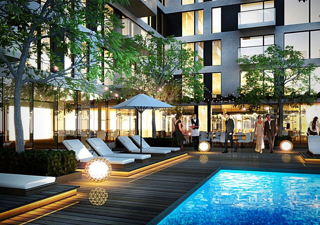 Outdoor pool with spectacular terrace