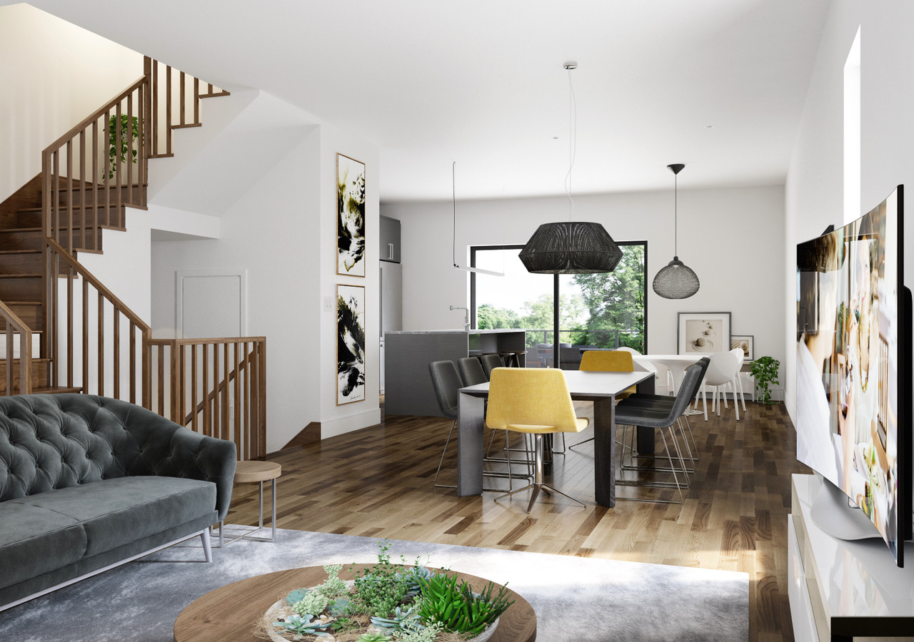 Plan du premier étage avec escalier et salon