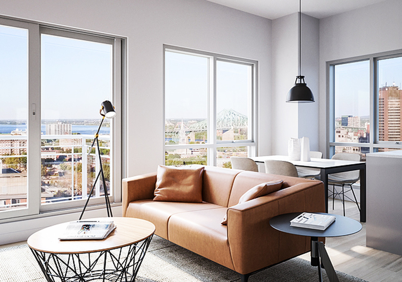 Living room with view on the city