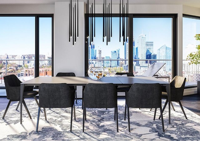 Dinning room with view on the city