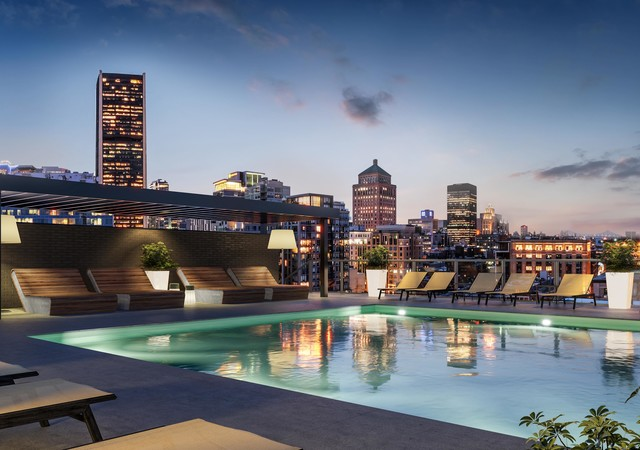 Rooftop terrace with a pool