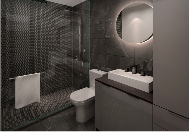 bathroom with whole glass shower