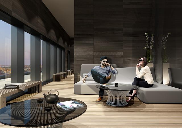 Lounge avec couple qui jase