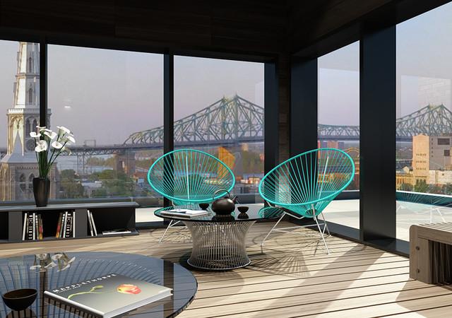 Lounge avec vue sur la ville