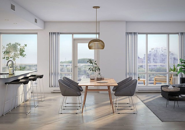 Dining room with larges windows and a view of the city