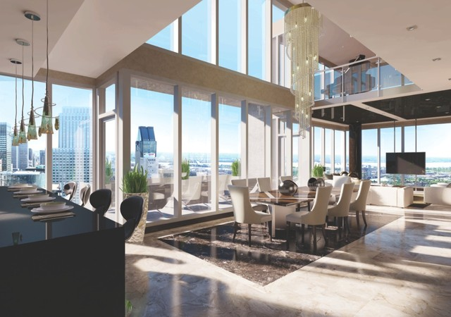 Magnificient penthouse with cathedral ceilings