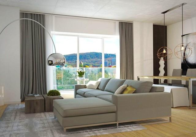 Salon avec grandes fenêtres et vue sur le Mont