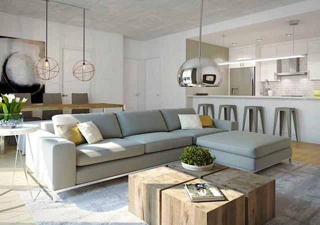 Salon avec grand sofa