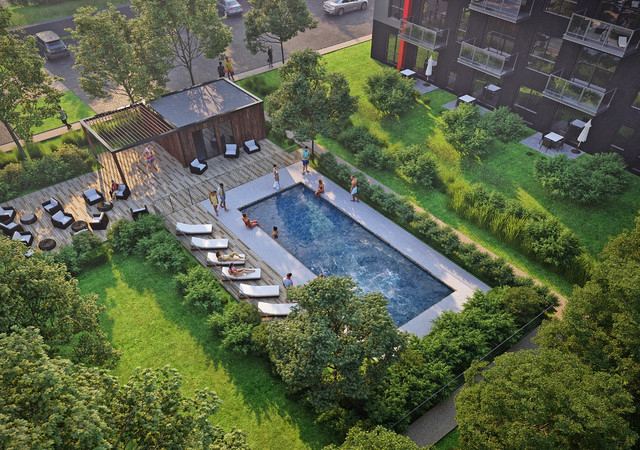 Private courtyard with an outdoor pool at Aristo condo