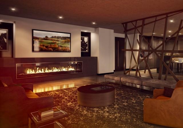Grand salon chaleureux avec foyer au gaz