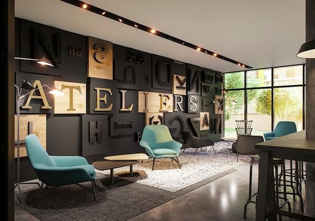 Lounge avec divan bleu