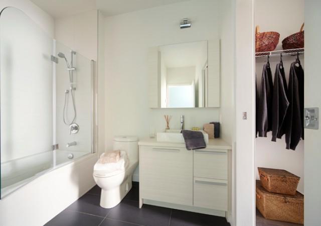 Salle de bain avec grand garde-robe et baignoire.