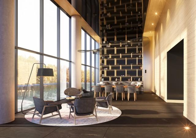 Lobby avec espaces d'attentes et vue sur la ville