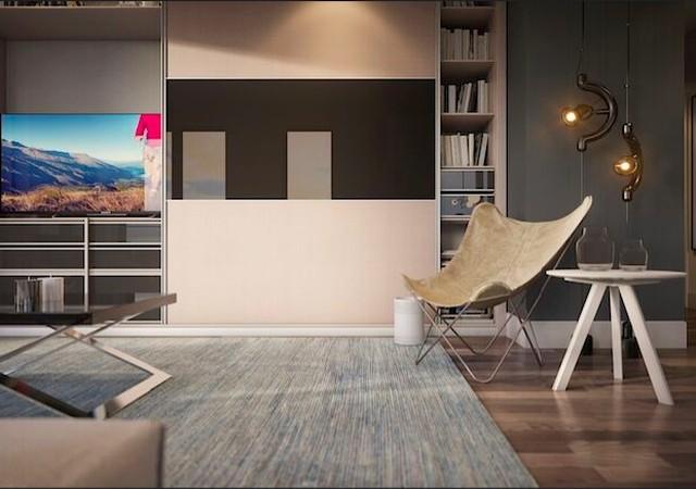 Salon avec luminaire et téléviseur