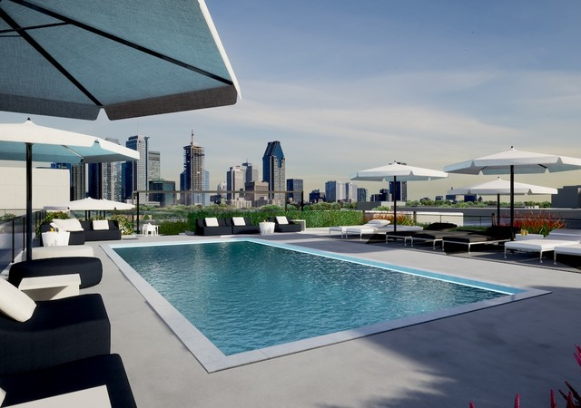Rooftop terrace with a pool and a view of downtown
