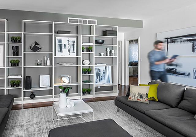 Salon avec grande bibliothèque