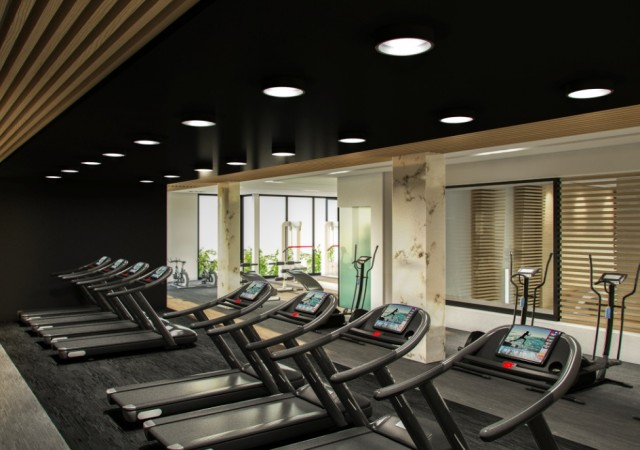 Gym with large windows