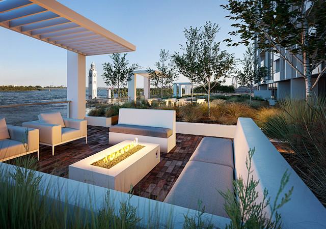 Terrasse avec foyer et plusieurs arbres