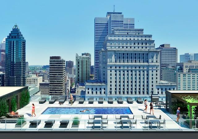 Piscine sur le toit avec vue sur le centre-ville de Montréal