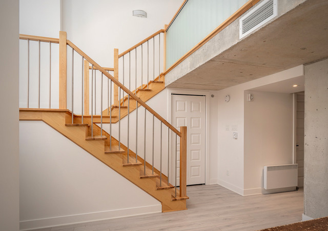 glo 2 wood stairs in a condo