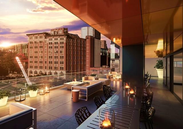 Terrasse avec coucher de soleil