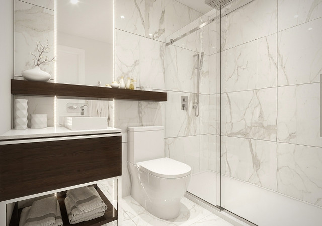 Bathroom with a large shower