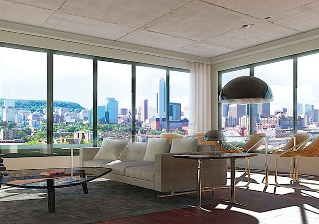 Salon avec vue sur le centre-ville de Montréal