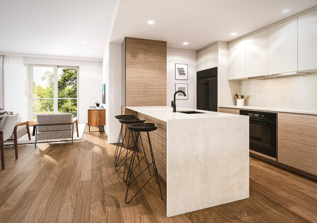 Kitchen with quartz contertop at Noria condos