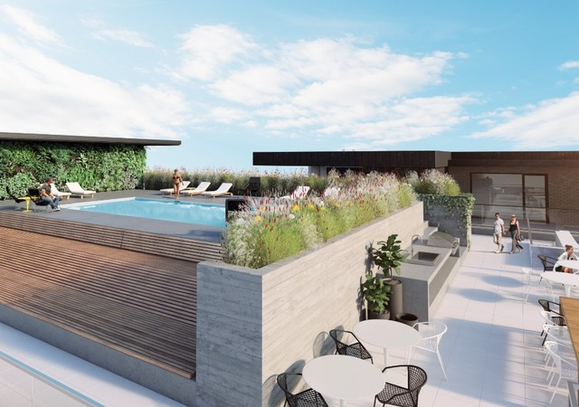 Rooftop terrace with relaxing area and a pool