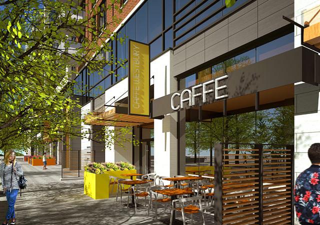 Café vu de l'extérieur avec terrasse