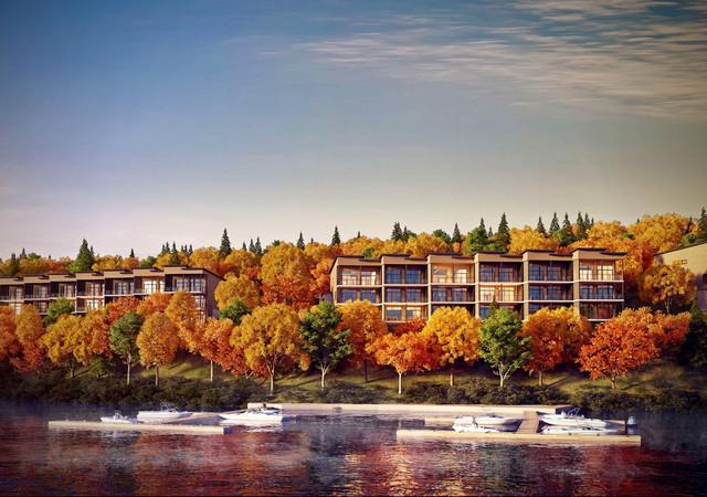 vue d'ensemble du projet avec bateaux sur la rivière