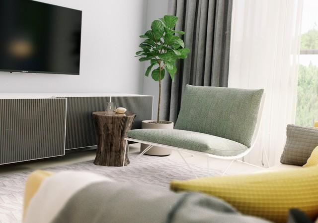 Salon avec une télévision et une plante