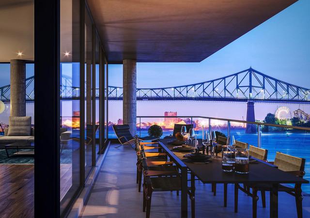 Terrasse avec vue sur le pont
