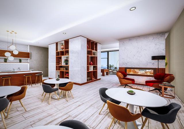 westbury condos foyer et tables dans le lounge