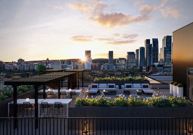 Will + Rich vue sur la ville de la terrasse au toit