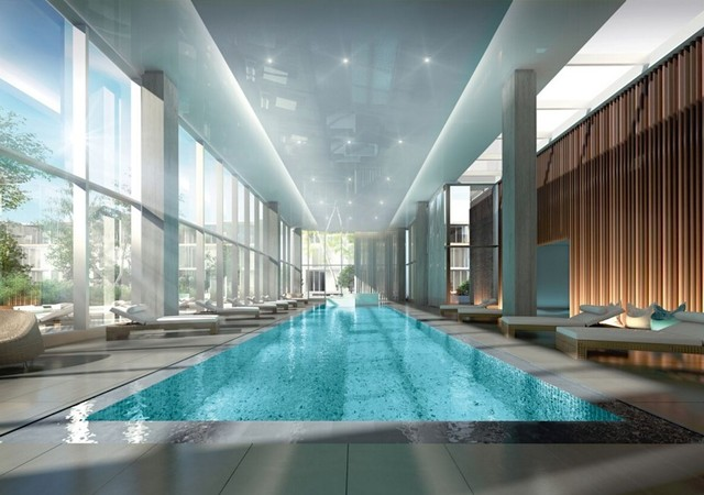 Indoor pool with large windows