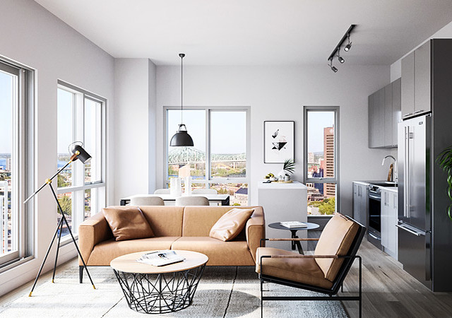 Living room with natural light coming inside by the large windows