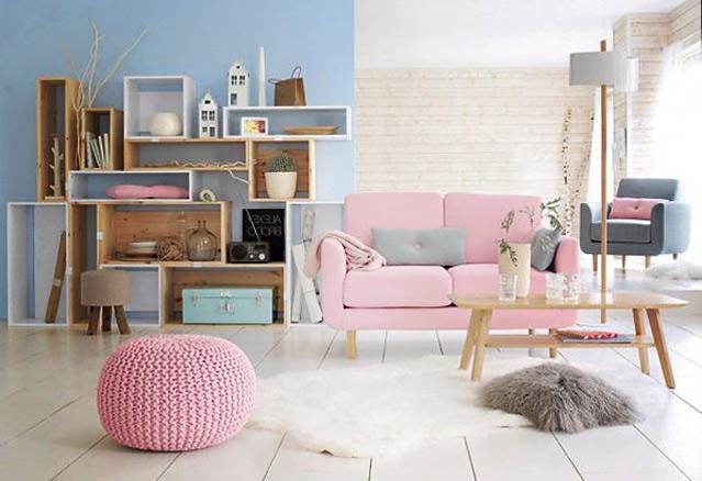salon rose et bleu exprimant les tendances design 2016