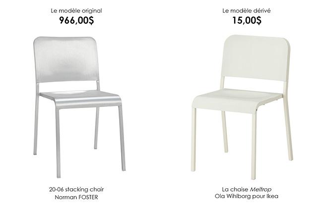 3. La 20-06 Stacking chair, par Norman FOSTER et la chaise Melltrop, par Ola Wihlborg pour Ikea