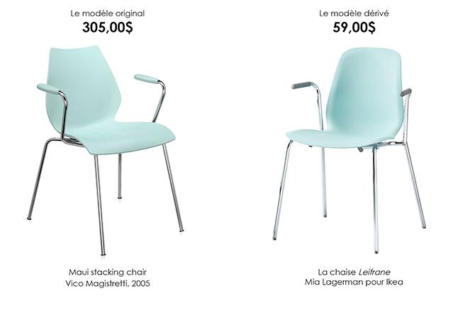 4. Maui stacking chair par Vico Magistretti (2005) et la chaise Leifarne, par Mia Lagerman pour Ikea